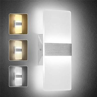 OOWOLF Lámpara De Pared Interior, 7W Apliques Pared Led Moderna Regulable 3 Temperatura De Color (3000K, 4500K, 6000K) Lámpara de Decoración Para Corredor, Dormitorio, Escalera: Amazon.es: Iluminación