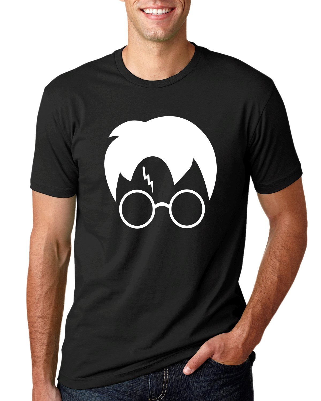 Wild Bobby Harry Potter Glasses Lightning Bolt Scar Hair   Mens Pop Culture Tee Graphic T-Shirt, Black, Large