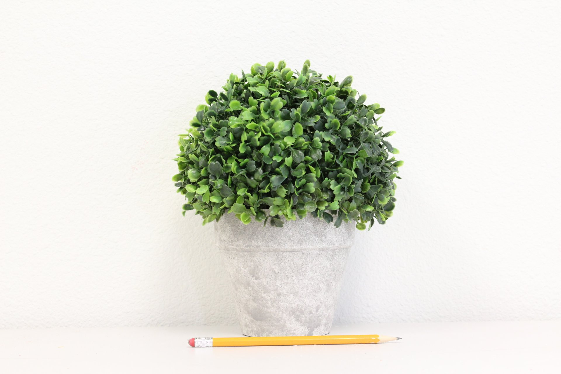 Artificial Boxwood Topiary Ball Table Top Plant With Decorative Pot 8 inches Tall Realistic Indoor Faux Decor by Silk Road Home