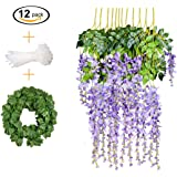 12 PCS, 3.6 feet, Artificial Wisteria Vine Ratta Hanging Garland Silk Flower String Set || Come with a 7 feet Leaf Vine String and 18 pcs Zip Ties || By KooCoo Mummy ( Lavender Purple)