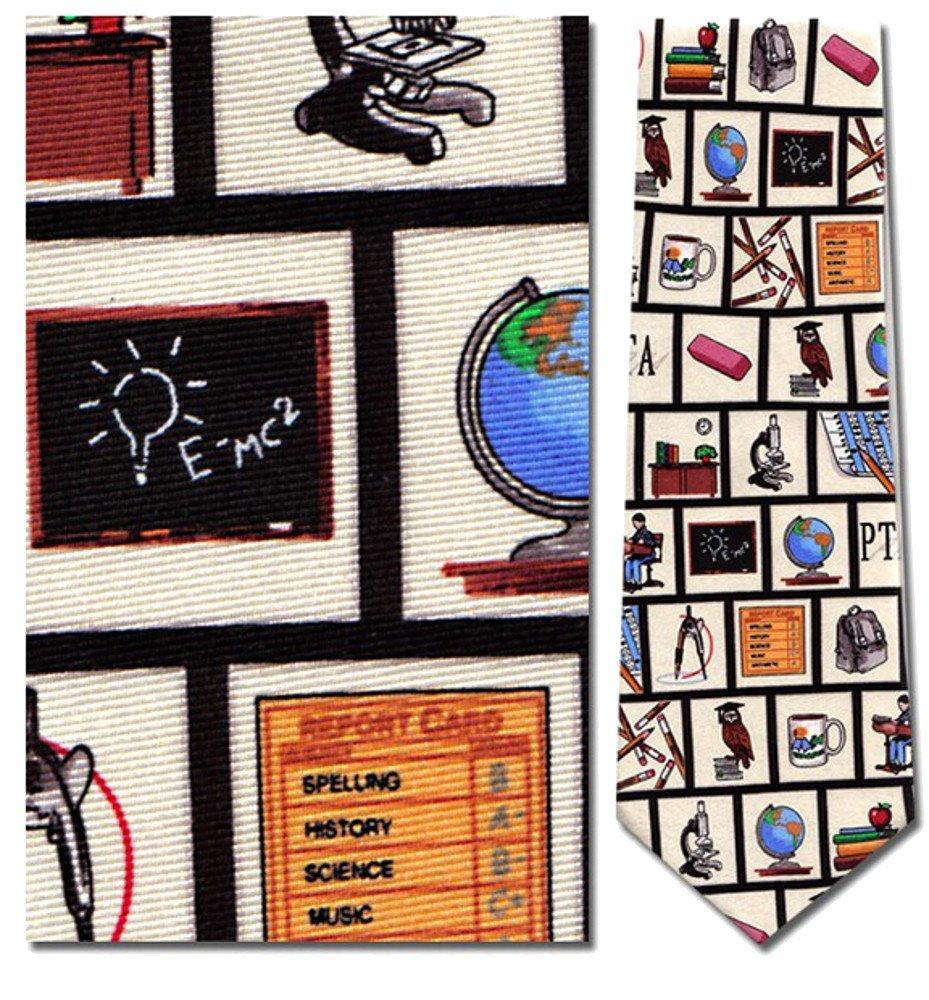 Mens 100% Silk Beige Teacher Tools Theme Tie Necktie