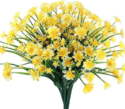 Ruiuzi - Juego de 4 flores artificiales para decoración al aire libre, no se decolora, plástico sintético, flores, jardín, porche, maceta, decoración: Amazon.es: Hogar