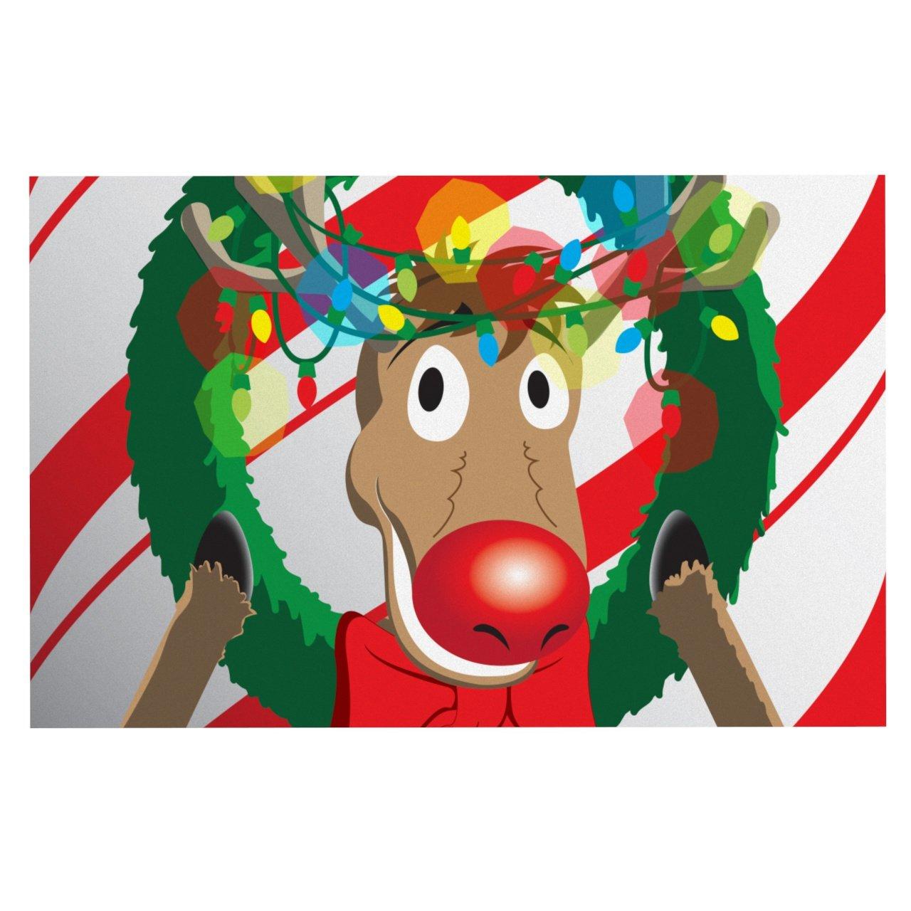 KESS InHouse KIH117ADM02 Kess Original Reindeer Seasonal Dog Place Mat, 24  x 15