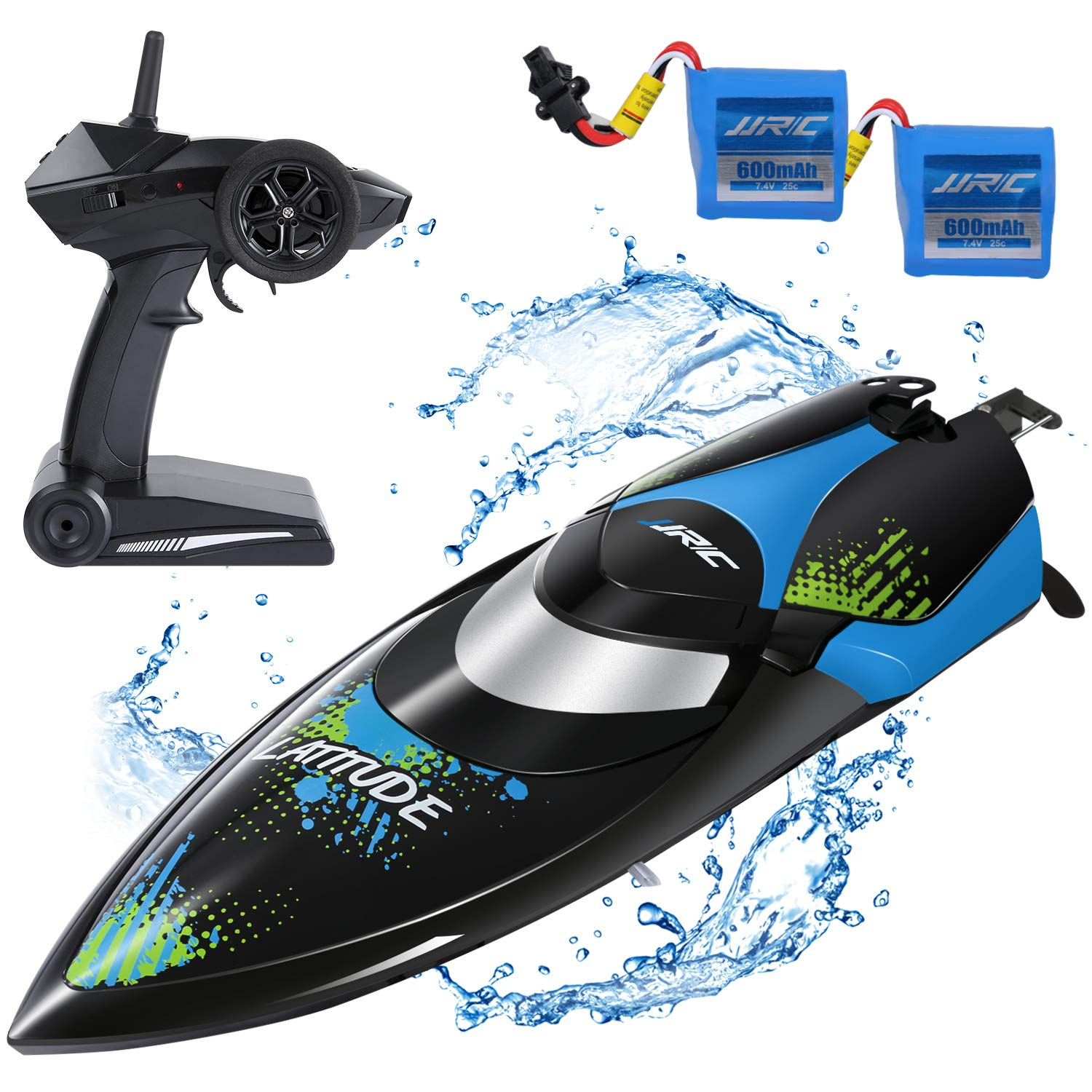 SGILE RC Race Boat,25 KM/H Remote Control Boat for Kid Adult,2.4 GHz 180° Flip High-Speed Boat,Black