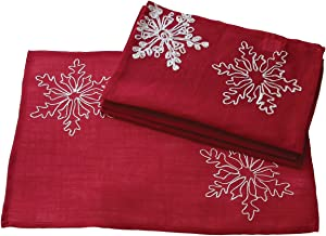 Xia Home Fashions Snowy Noel Embroidered Christmas Placemats with White Snowflakes, 14 by 20-Inch, Set of 4