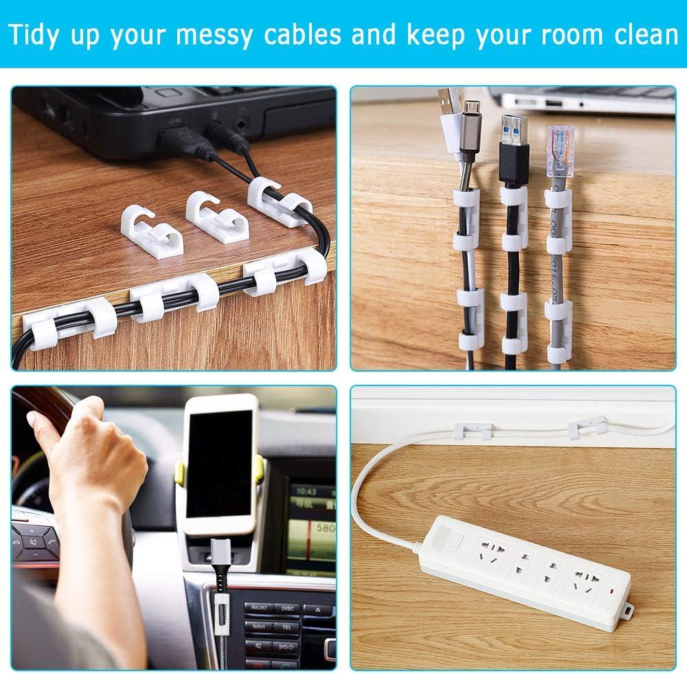 Support Cable blanc Gestion de C/âble Support Organiseur de Fils Electriques pour TV//PC//Bureau Clips de c/âble fixation auto Sinwind 80Pcs Attache Cable Adhesif