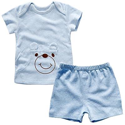 Monvecle Unisex Baby Natural Color Cotton Lap Shoulder T-Shirt + Shorts Set