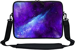 Meffort Inc 11.6 12 Inch Neoprene Laptop Sleeve Bag Carrying Case with Hidden Handle and Adjustable Shoulder Strap - Galaxy Universe