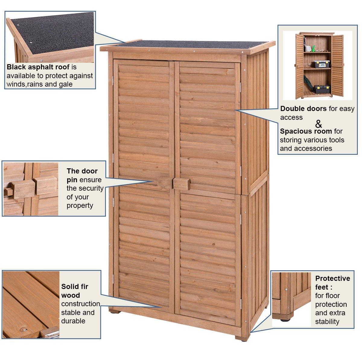 Goplus Garden Storage Shed Fir Wood Shutter Design Wooden Lockers for Outdoor Superbuy