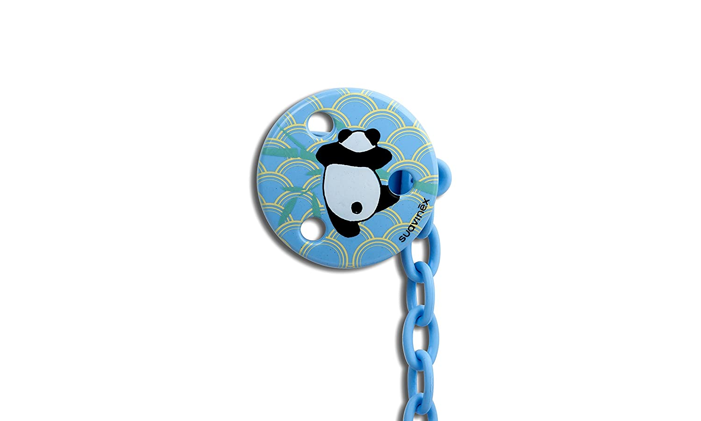 Suavinex - Broche Chupete Bebé +0 Meses. Broche Pinza Redondo. 0% BPA. Diseño Panda Color Azul