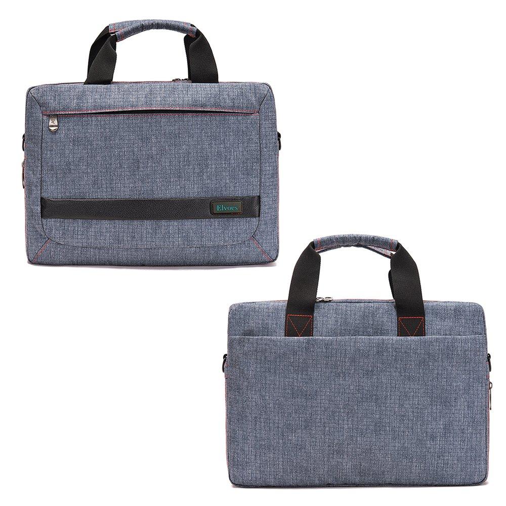 Elvoes Laptop Briefcase 13-14 Inch Laptop Bag Multi-Functional Nylon Shoulder Messenger Bag,Grey Laptop Carrying Handbag,Business Office Bag for Men Women