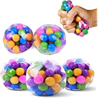 Stress-Relief Sensory Stress Balls, Squishy Stress Balls Toy, Rainbow Stress Ball Clear Silicone Sensory Squeeze Balls…