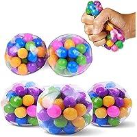 (2Pcs) Stress-Relief Sensory Stress BallsDNA Colorful Beads, Squishy Stress Balls Toy, Rainbow Stress Ball Clear…