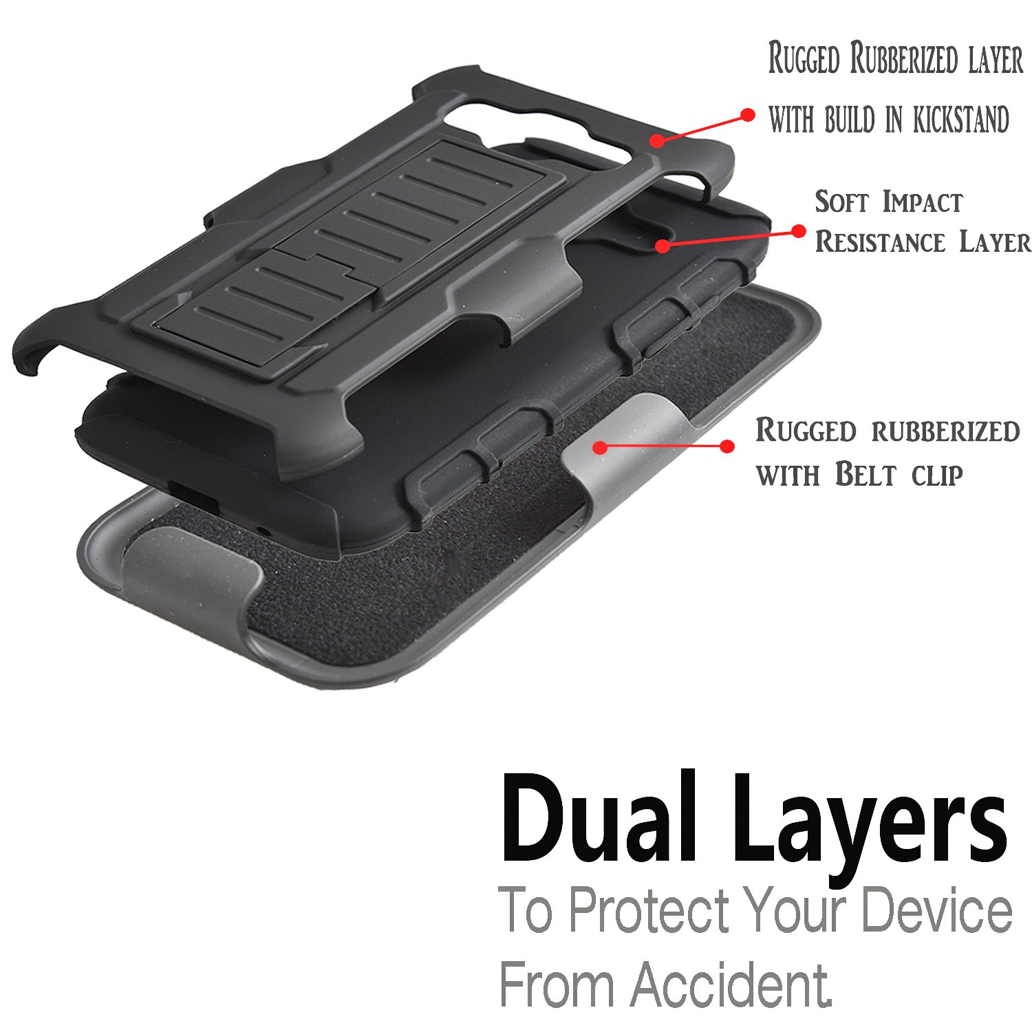 ... Dual Layers Kickstand Phone Cover with [Premium HD Screen Protector Included] and Locking Belt Clip (Black): Cell Phones & Accessories