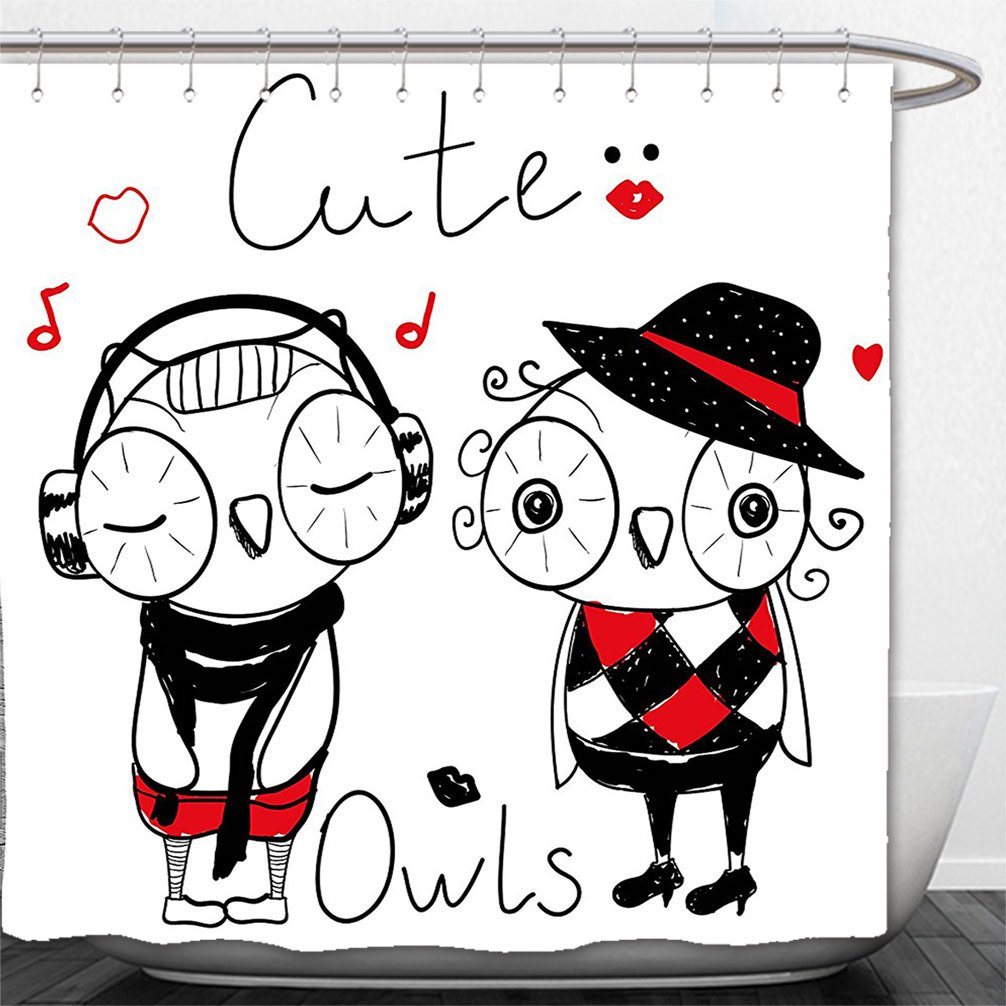 Interestlee Shower Curtain Fashion House Decor Cute Cartoon Owls Music Happiness Smiling Fancy Animals Illustration Black Red