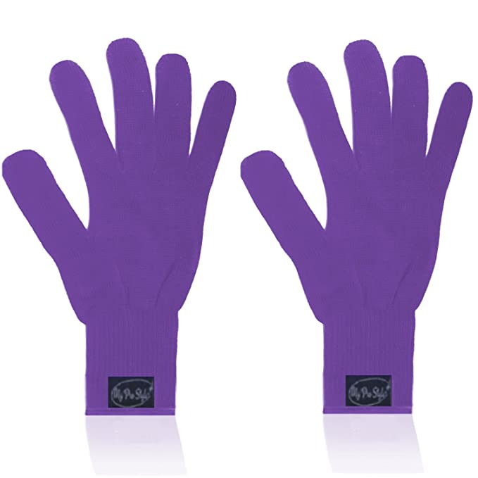 (PAIR) 2 X PURPLE - Professional Heat Resistant Gloves For Curling and Flatting Iron