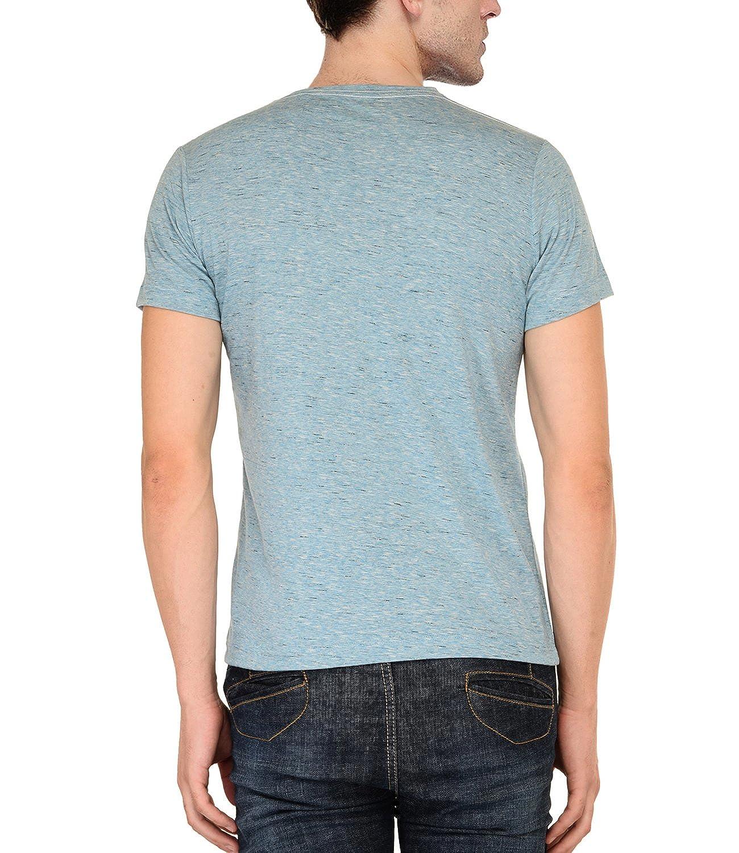 b8b3fd3fa AWG Men s Polycotton Slub Round Neck T-Shirt - Royal Blue  Amazon.in   Clothing   Accessories