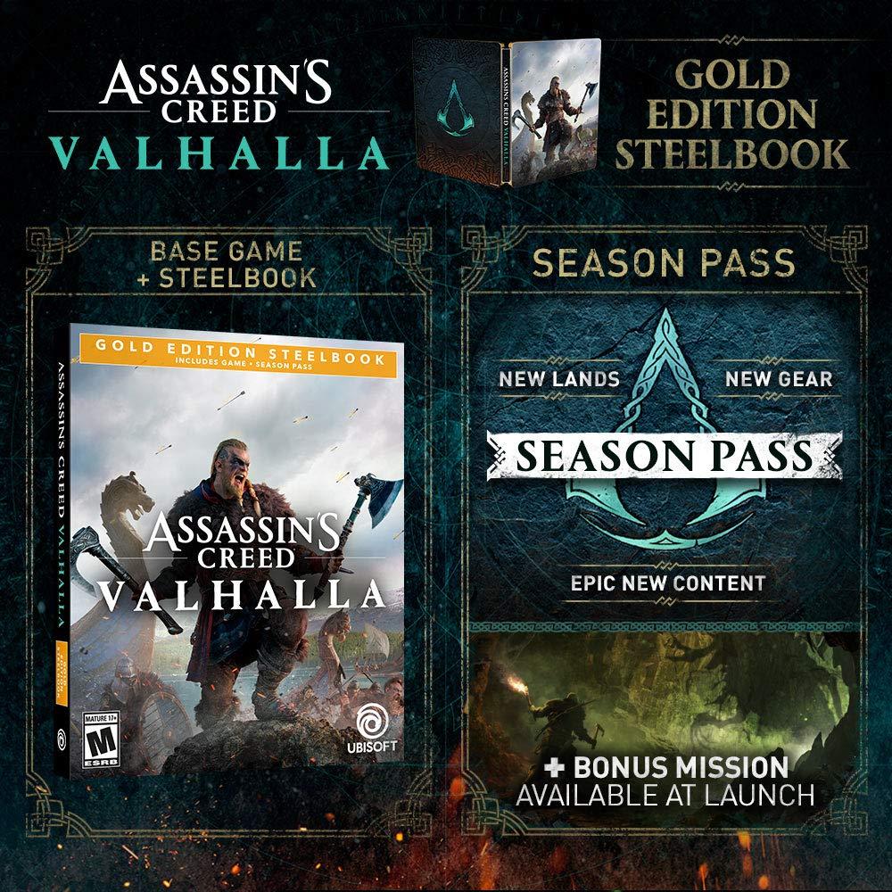 Amazon Com Assassin S Creed Valhalla Xbox Series X S Xbox One Gold Steelbook Edition Ubisoft Video Games