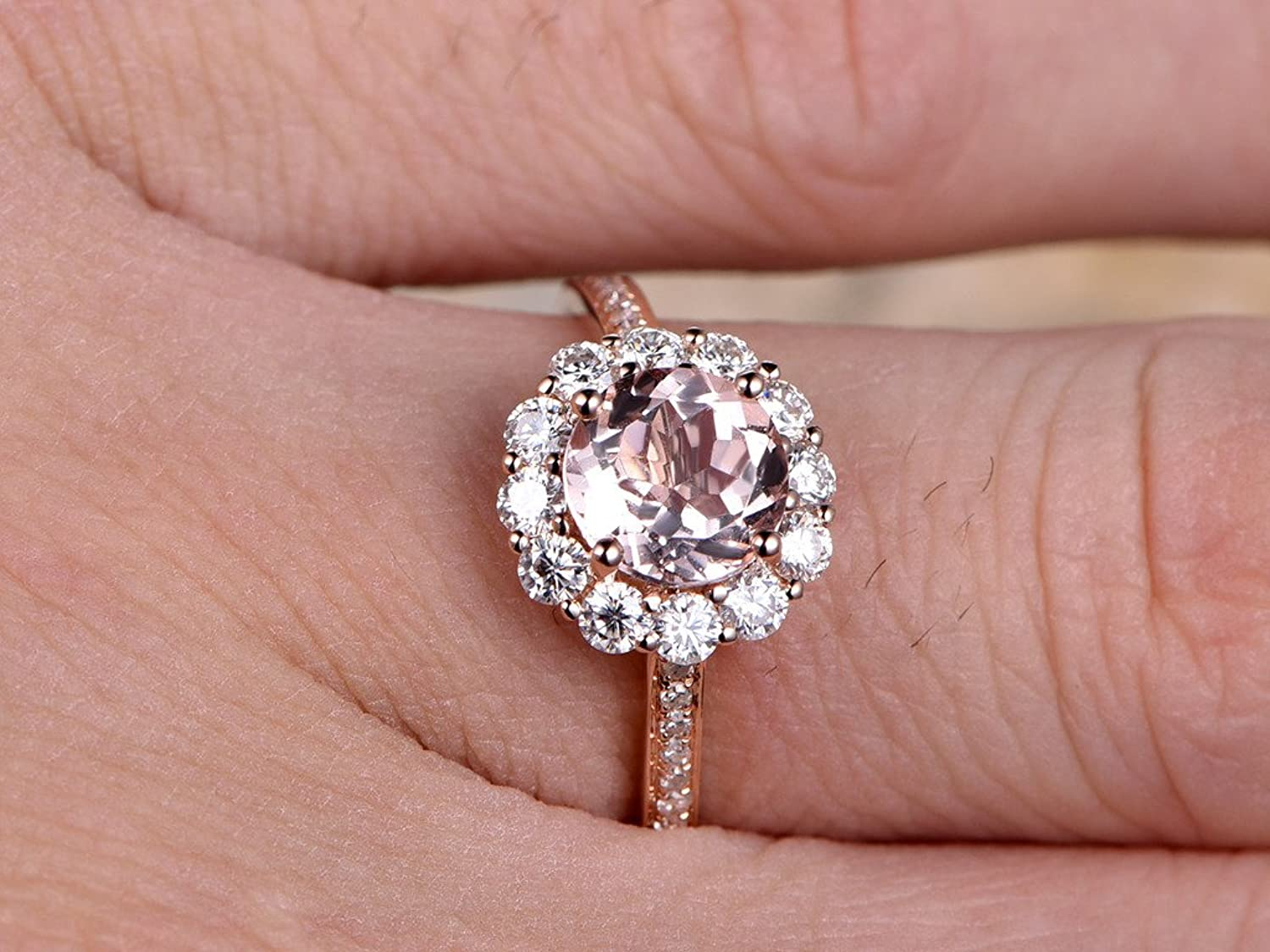 Round Natural Pink Morganite Rose Gold Charles & Colvard Moissanite ...