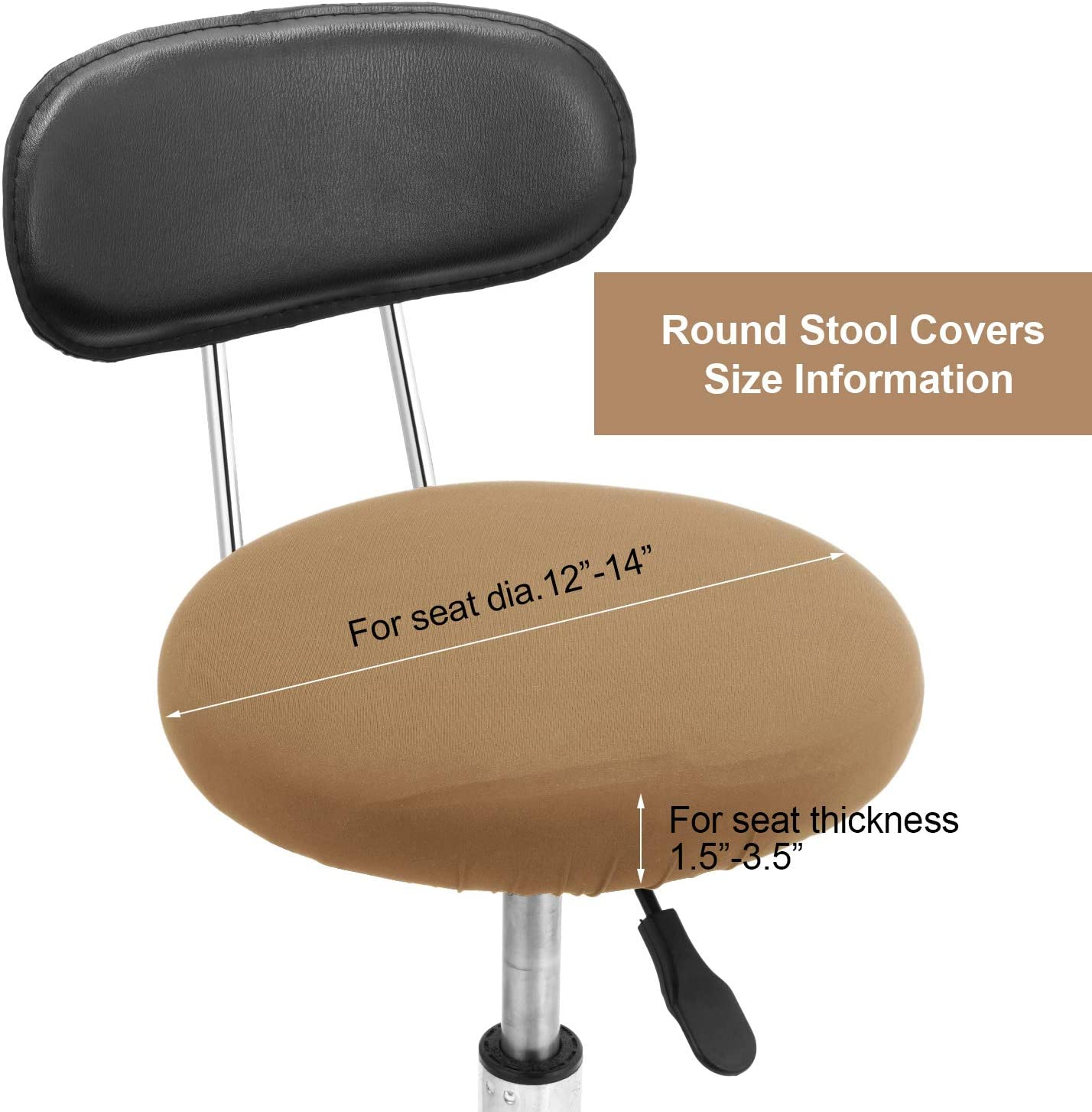 Light Tan 12-14 Inch Boao 4 Pieces Round Bar Stool Covers Elastic Bar Chair Covers Washable Stool Cushion Slipcover for Home Bar Hotel Use