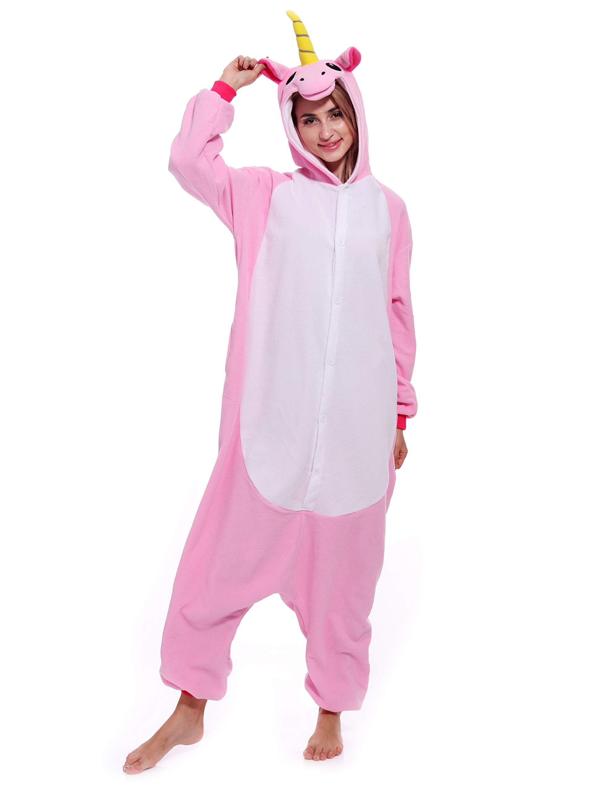 Adult Unisex Unicorn Onesie One-Piece Pajamas Animal Costume Cosplay Sleepwear  Pajamas for Women Men Teens 13b84b4a9