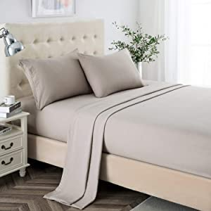 Queen Sheet Set, 2400 Thread Count Soft Deep Pocket Microfiber Sheets, 4 Pieces Taupe Bedding Sheets & Pillowcases