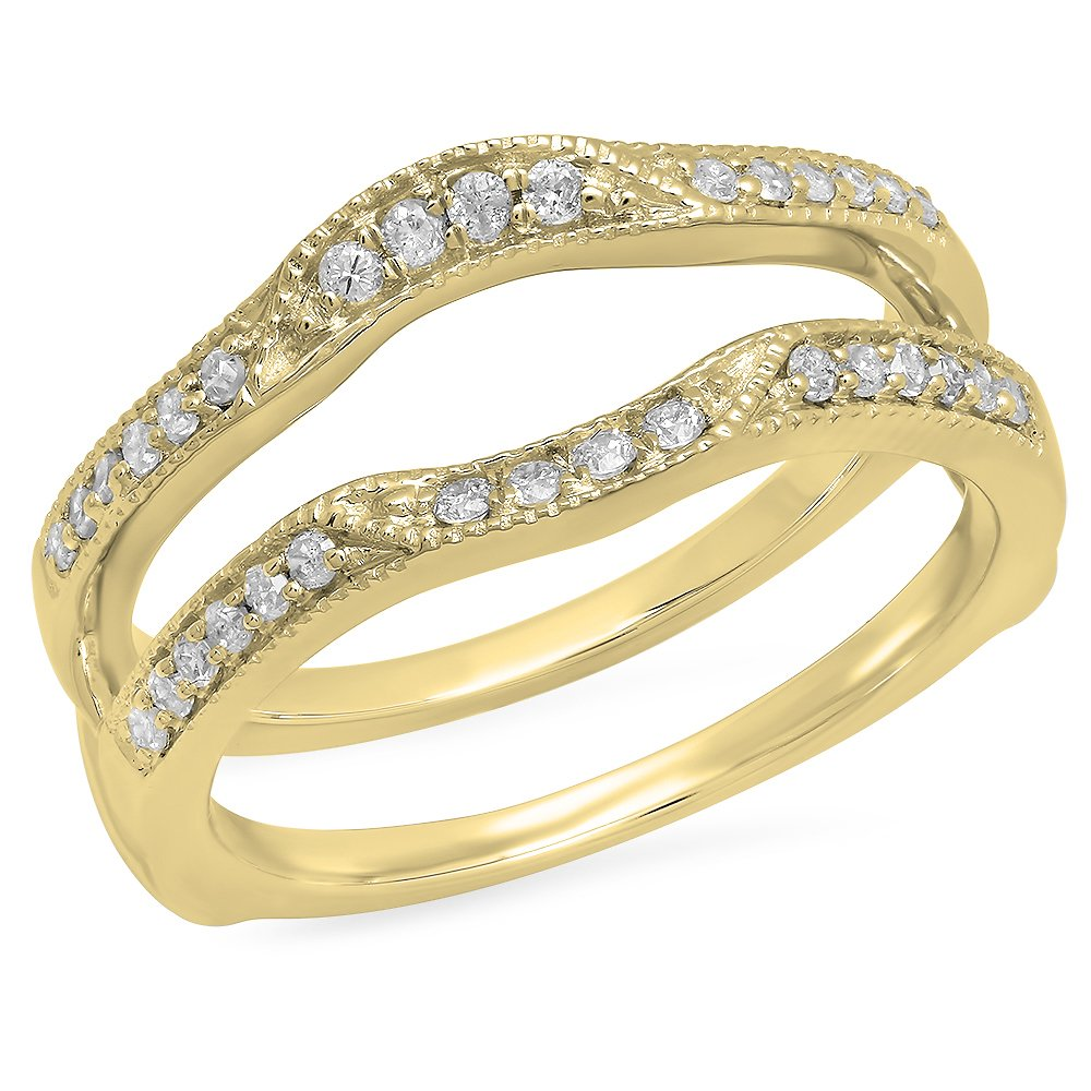 Dazzlingrock Collection 0.25 Carat (ctw) 10K Round Diamond Wedding Band Enhancer Double Guard Ring 1/4 CT, Yellow Gold, Size 6.5