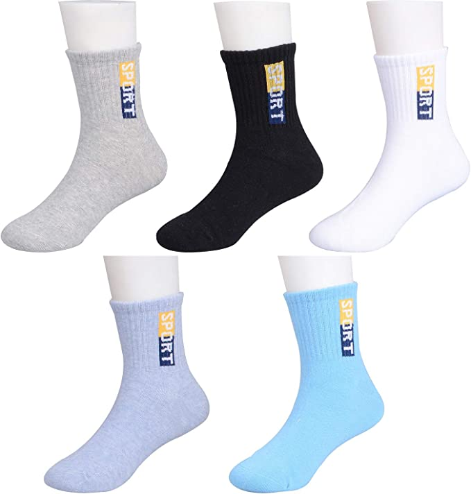 Boys Cotton Crew Socks Kids Athletic Socks 6 Pack