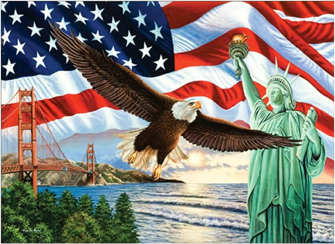 Diamond Painting Art, DIY 5D Diamond Painting Kits for Adults, American Flag Full Gem Dots Drill Diamond Painting for New House Home Wall Decor Gift, Flying Eagle - Statue of Liberty 16x12in