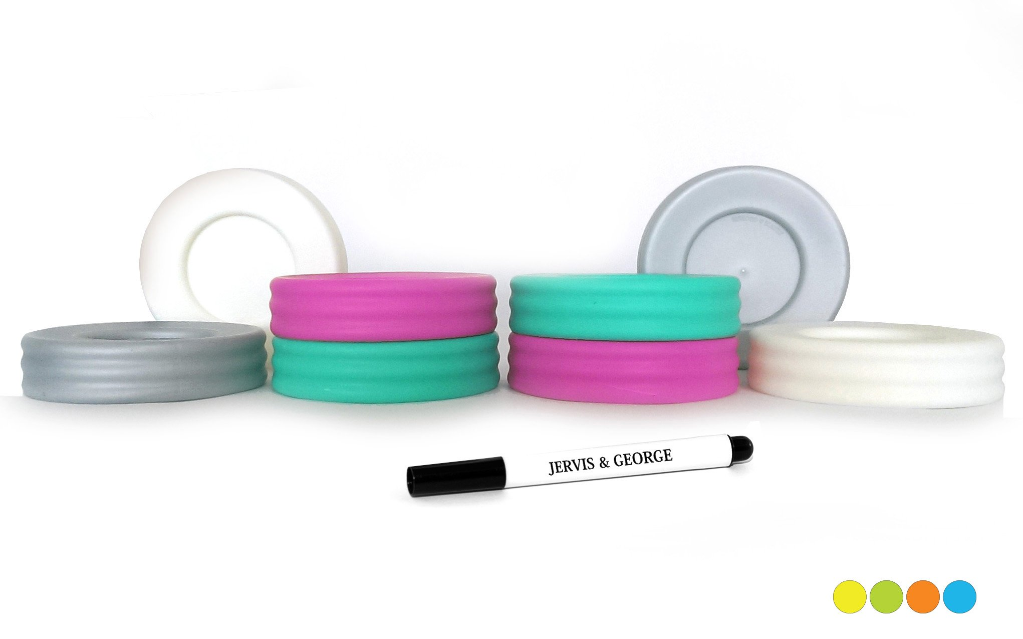 Mason Jar Lids - Compatible with Regular Mouth Size Ball Jars - Reusable and Leak Proof Plastic Lids are BPA Free - Includes Pen for Marking - Pink, Teal, Gray & White - Pack of 8