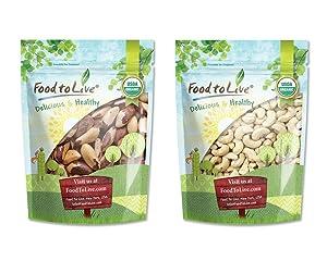 Organic Nuts Bundle with Organic Brazil Nuts, 1 Pound and Organic Cashews W-240, 8 Ounces — Raw, No Shell, Whole