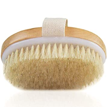 Amazon Com Dry Brush Body Brush For Cellulite And Lymphatic Natural Bristle Skin Exfoliator Brush For Remove