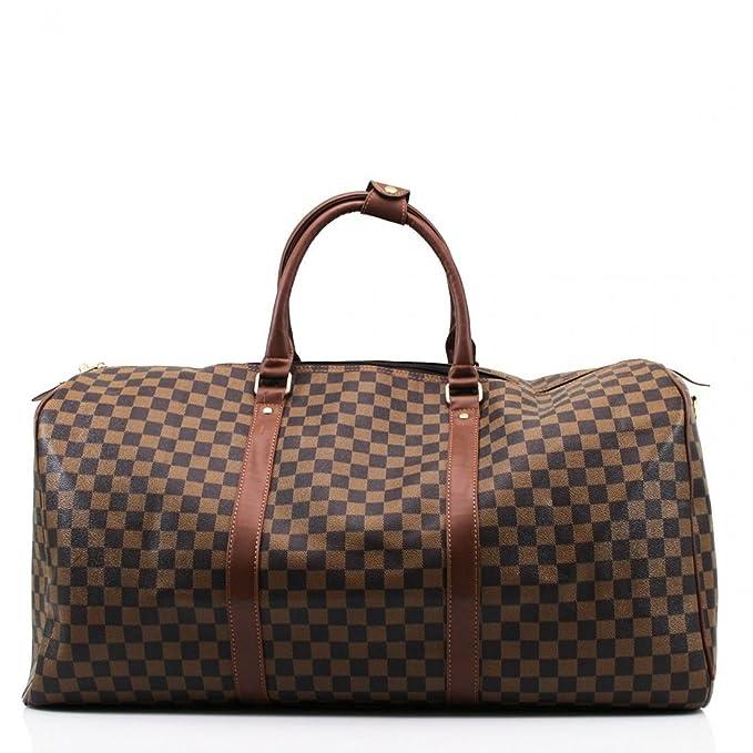 e1c6b339b1e7 Ladies Designer Travel Gym Sports Bag Women Style Barrel Floral Check  Luggage (Brown Check)  Amazon.ca  Clothing   Accessories
