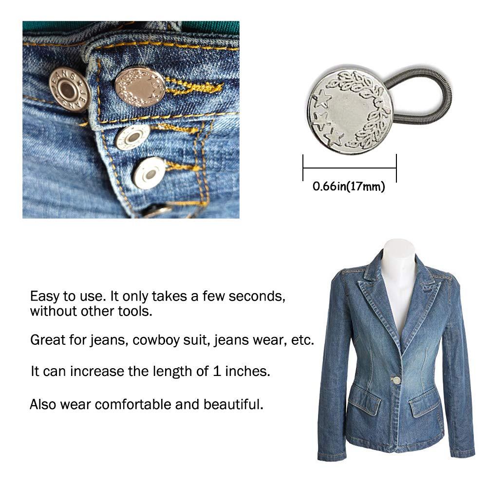 Prolongador de botón elástico para mujeres embarazadas, pantalones vaqueros de hombre. (Plateado)