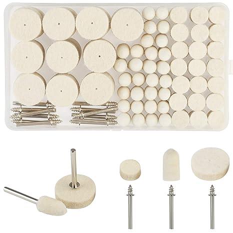 discos de pulir abrasivos KAKOO 123pcs almohadilla de fieltro de pulido pequeño de lana rueda de