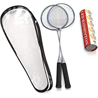 Trained Premium Quality Badminton Rackets, Pair of 2 Rackets, Lightweight & Sturdy, with 5 LED SHUTTLECOCKS, Carrying…