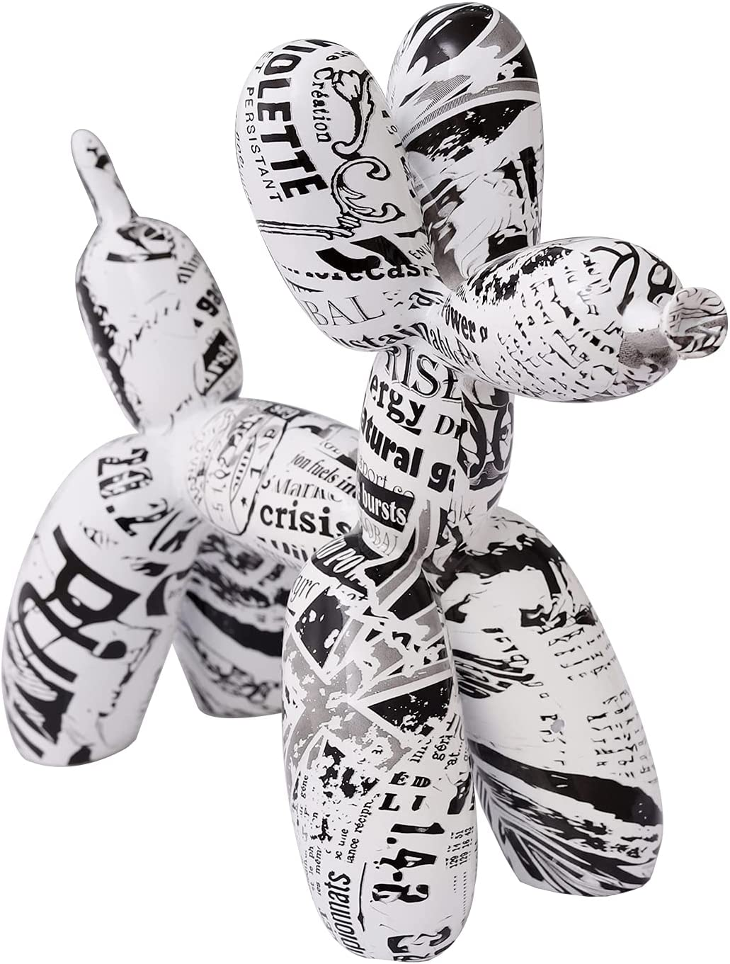 Newspaper Balloon Dog Statue Decor ,Figurines for Home Decor, Bookshelf TV Stand Decor,Shelf Decorations for Home,Bedroom,Living Room and Office,Memorial Gift,Size:10.23 x 3.94 x 8.27 inches
