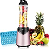 La Reveuse Smoothies Blender Personal Size 300 Watts with 18 oz BPA Free Portable Travel Sports Bottle (Pink)