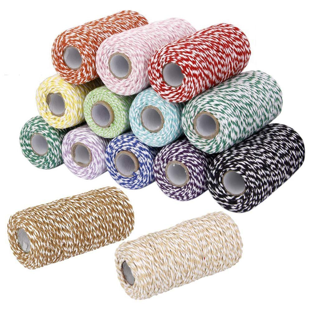 VORCOOL Christmas Twine Cotton String Rope Cord for Gift Wrapping Arts Crafts 100m