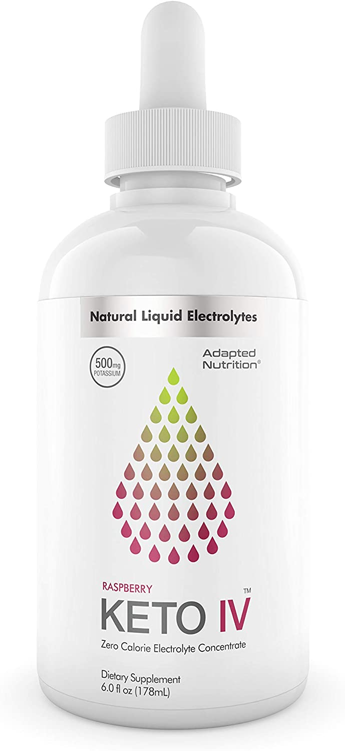Keto IV Electrolyte Drops + High Potassium | No Leak Dropper Bottle | 500mg Potassium + Magnesium, Sodium & Zinc | Hint of Raspberry | 30 Servings