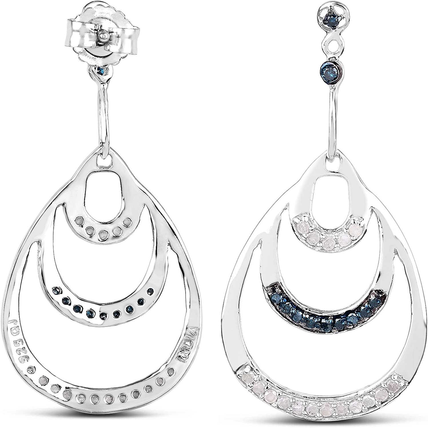 0.52 Carat Genuine White Diamond and Blue Diamond .925 Sterling Silver Earrings