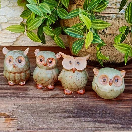 XRX 4 piezas de cerámica búho ornamentos, miniatura figuras, hada jardín accesorios, hada jardín suministros, hada jardín animales para hadas jardín, micro paisaje, macetas de plantas, bonsai artesanía, decoración del hogar: Amazon.es: