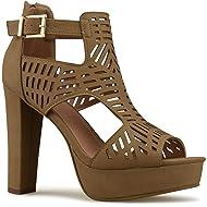 90a47f0a871 Premier Standard Women s Laser Cut Out Ankle Strap High Heel - Open Toe  Sandal Pump -