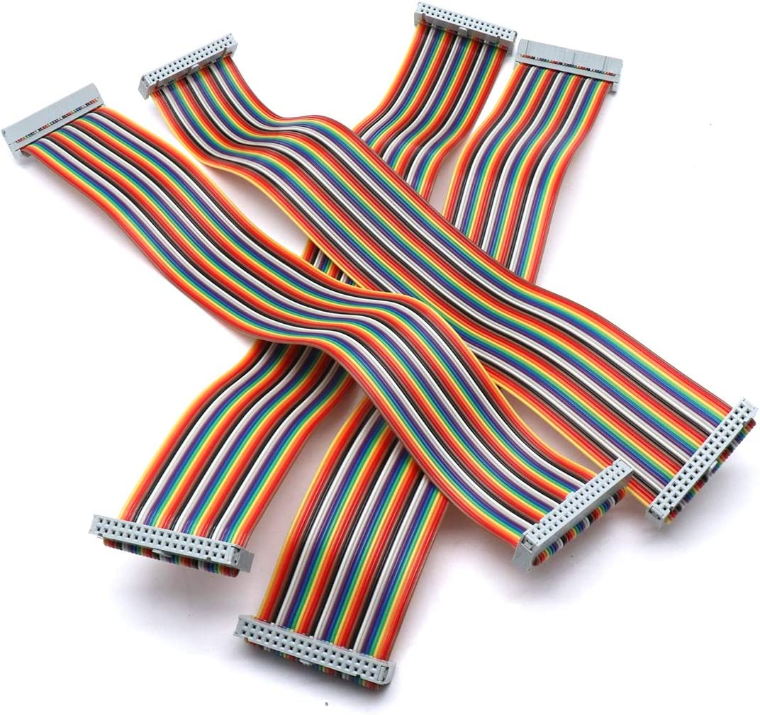 Sydien 2.54mm Pitch 2 Row 34 Pins F//F IDC Connector Rainbow Flat Ribbon Cable 30cm Length,4Pcs