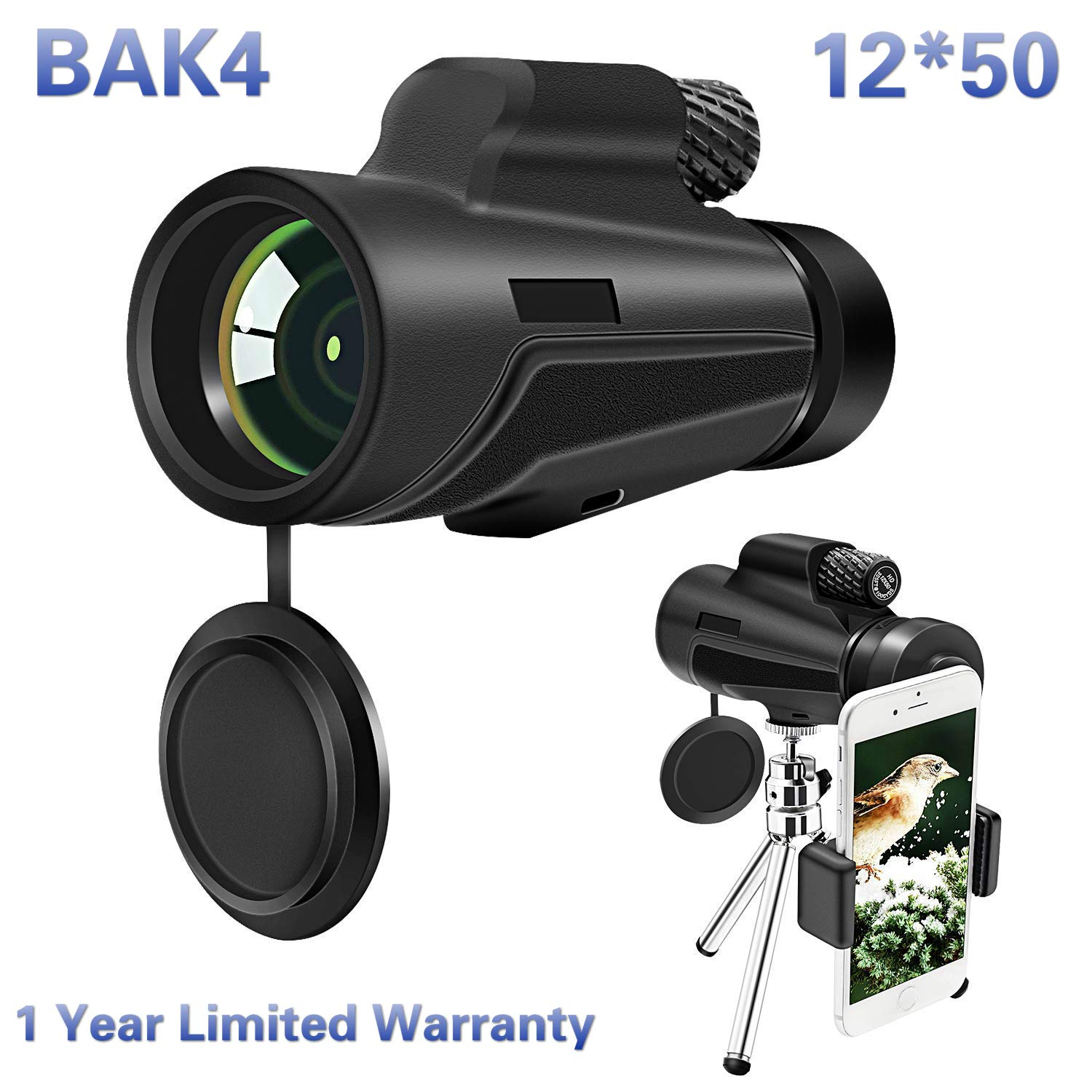Monocular Telescope, 12x50 High Power BAK4 Prism Telescope, Portable Waterproof Spotting Scope with Quick Smartphone Holder Tripod and Neck Strap for Outdoor Bird Watching Hunting Hiking