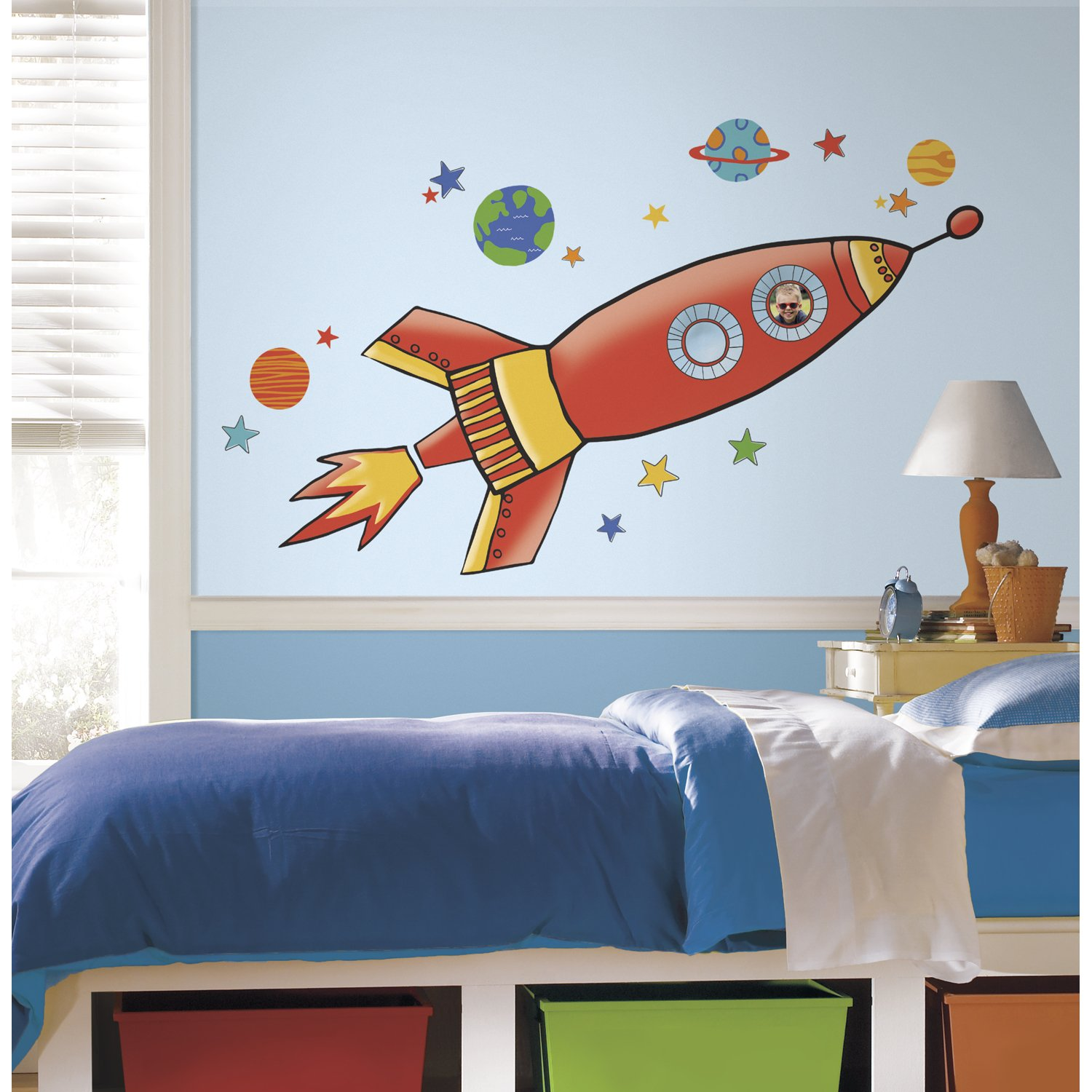 amazoncom roommates rmk2619gm rocket peel and stick giant wall decals home improvement