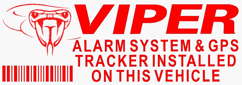 Platinum Place 5 x Viper Alarma y GPS dispositivo de rastreo de seguridad, color rojo sobre pegatinas transparentes 87 x 30 mm, señal de advertencia de furgoneta