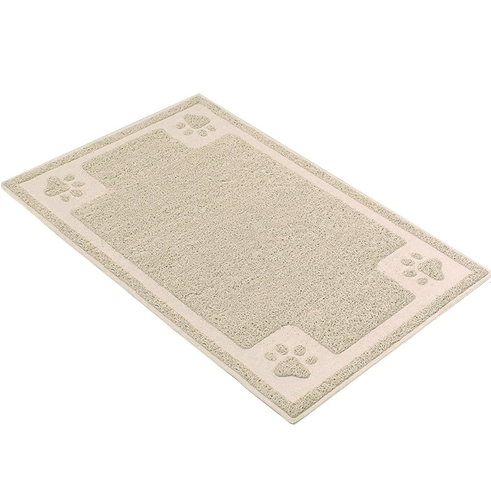 H&ZT Dog Cat Bowl Mat,Pet Feeding Mat for Dogs and Cats,Non-Slip Absorbent Waterproof Dog Food Mat (20''x12'', Beige)