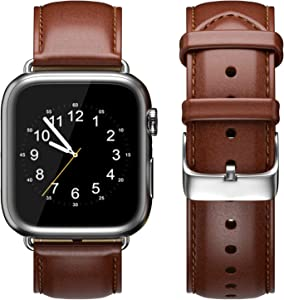Compatible with Apple Watch Band 44mm 42mm /40mm 38mm Genuine Leather Replacement Strap Stainless Steel Adapters for iWatch Series 5, Series 4, Series 3, Series 2, Series 1 (Brown, 42mm/44mm)