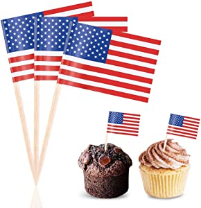 Efivs Arts 100 PCS American Flag toppers Toothpicks 4th of July Independence Day New Year Day Patriotic Cupcake Toppers Picks for army graduation Party Decorations Supplies